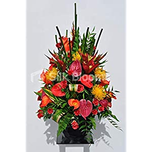 Silk Blooms Ltd Large Artificial Bright Red Anthurium and Calla Lily Floral Arrangement w/Roses, Protea and Heliconia 58