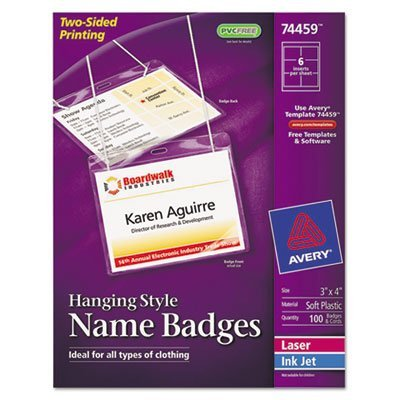 Neck Hang Badge Holder w/Laser/Inkjet Insert, Top Load, 3 x 4, White, 100/BX, Sold as 100 - Avery Elastic Hanging Neck