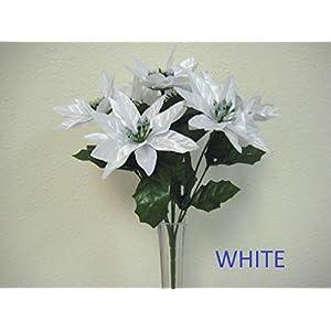 JumpingLight 4 Bushes White Xmas Poinsettia 7 Artificial Silk Flowers 12'' Bouquet 209WT Artificial Flowers Wedding Party Centerpieces Arrangements Bouquets Supplies 44