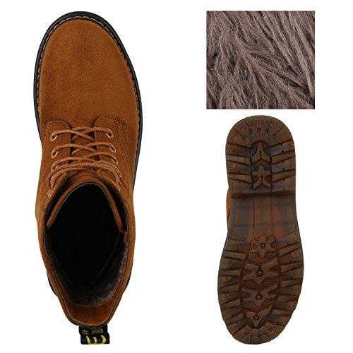 Herren Damen Worker Hellbraun Boots Holzoptikabsatz Profilsohle Unisex Stiefeletten Flandell Stiefelparadies 4U5EEw