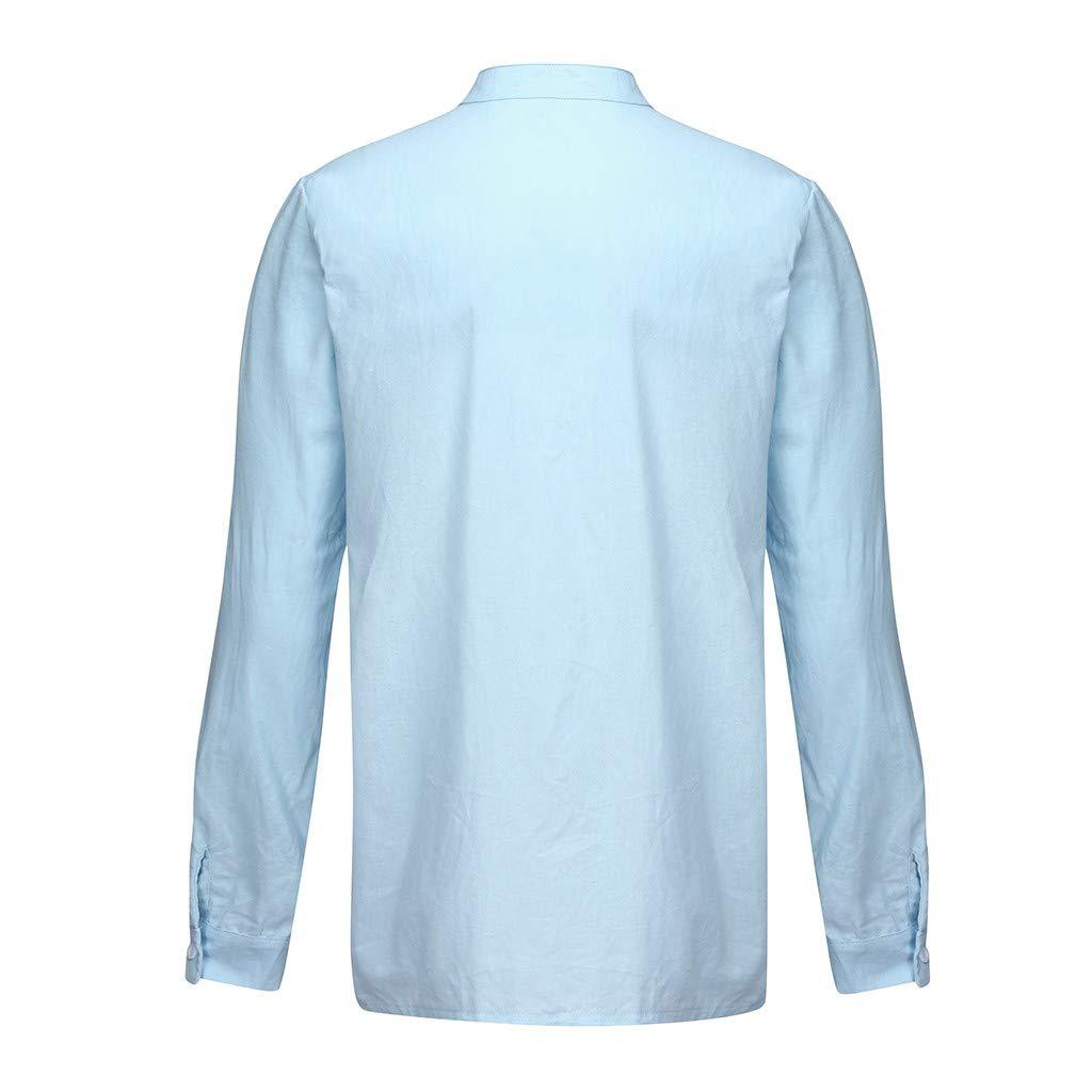 Nadition Mens Loose Cotton Linen Pocket Button Decor Henley Blouse Solid Long Sleeve Retro T Shirts Tops Blouse