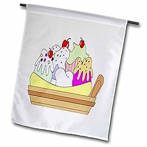 fl_44801_1 Florene Décor II - Banana Spilt Ice Cream Dish - Flags - 12 x 18 inch Garden Flag