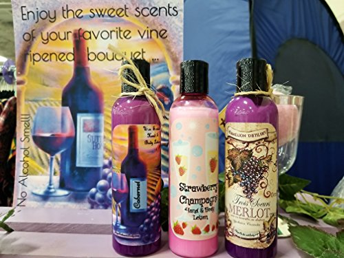 Merlot Strawberry Wine (Vine Ripened Wine Scented (Merlot, Cabernet, & Strawberry Champagne) Hand and Body Lotion Gift Set Each Bottle is 4oz)