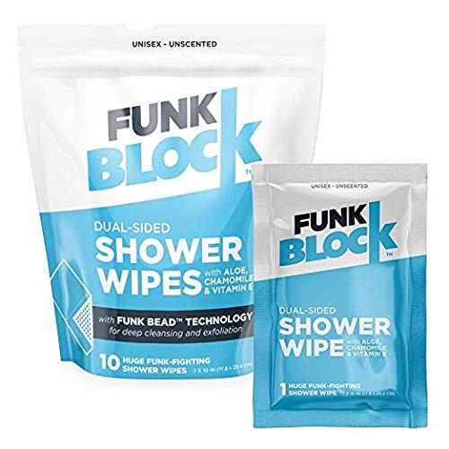 (FunkBlock Body Wipes: Large Shower Wipes Ideal for Hygiene, Body Cleansing, Camping Wipes, Gym & Travel. No Rinse Bathing Wipes with Aloe and Vitamin E. Bag of (10) Unscented, Individually Wrapped, )