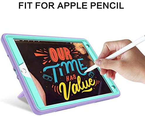 BENTOBEN iPad eighth Generation Case, iPad seventh Generation Case, iPad 10.2 2020/2019 Case, 3 in 1 Heavy Duty Rugged Shockproof Kickstand Hybrid Three Layer Protective Cover with Pen Holder, Purple/Green