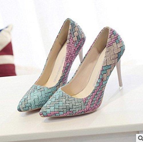GRRONG Zapatos De La Mujer Otoño Señalaron Patrón De Tejido De La Boca Baja Conjuntos De Pies Blue
