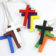 1PCS Blue Wooden Cross Pendant Necklace,Cross Necklace Jewelry,Cross Necklace for Women,Men (Blue)