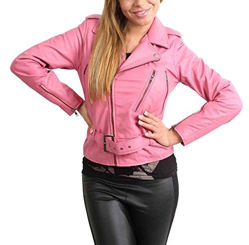 Mujer Cuero Real del Motociclista Estilo Funky Retro Cruz Cremallera Chaqueta Abbi Rosa