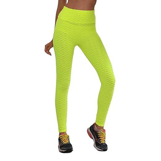 Hihey Moda Mujer Sexy Cintura Alta Pantalones de Fitness Elásticos ...