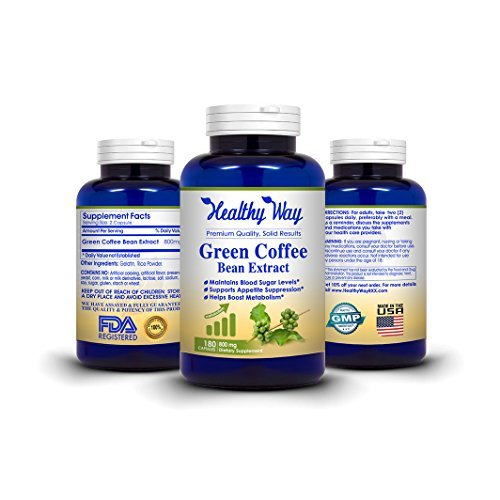 Healthy Way 100% Pure Green Coffee Bean Extract – 180 Capsules -Antioxidant Cleanse for Weight Loss , Healthy Fat Burner –  NON-GMO USA Made 100% Money Back Guarantee Review