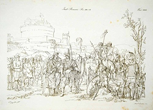 1834 Copper Engraving Costume Rome Roman Citizens Soldiers Weapons Medieval ILC2 - Original Copper (Roman Citizen Costume)