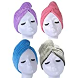 YYXR Microfiber Quick Drying Hair Towel Wrap - Super Absorbent Drastically Reduce Hair Drying Time(4-pack) (rose-purple-blue-lilygreen)
