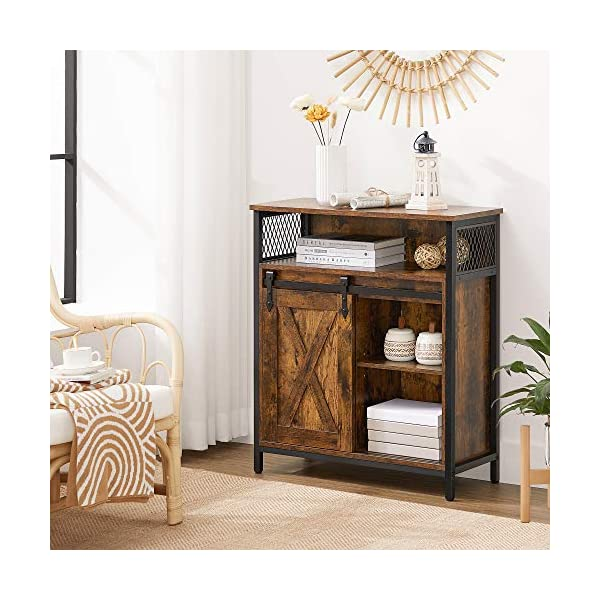 VASAGLE Meuble de Rangement, Buffet, avec Porte de Grange coulissante, Compartiment Ouvert, étagère réglable, Style…