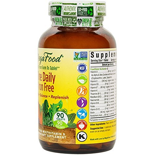 MegaFood Daily Iron Multivitamin for Immune Nervous System Health, Energy and B Vitamins, Gluten-Free, Non-GMO,