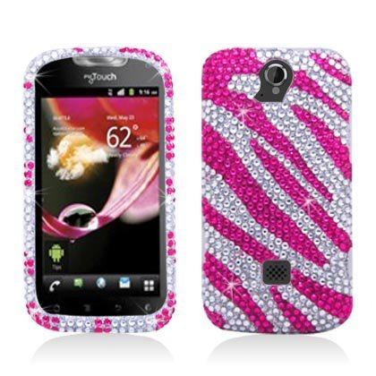 (Aimo HWU8730PCLDI686 Dazzling Diamond Bling Case for Huawei myTouch Q U8730 - Retail Packaging - Zebra Hot Pink/White)