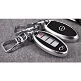 Saibon Protective Hard Aluminum Shell Key Fob Remote Entry Case Cover for Infiniti (Silver)