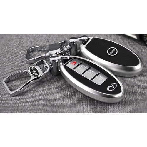 saibon-protective-hard-aluminum-shell-key-fob-remote-entry-case-cover-for-infiniti-silver