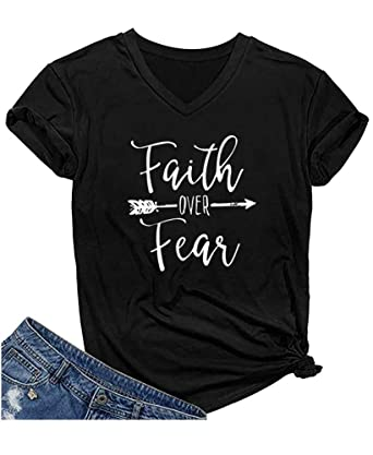f66d9d0b Qrupoad Womens Faith Over Fear V Neck T Shirts Summer Casual Short Sleeve Graphic  Tees Tops