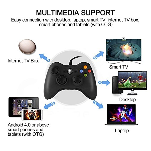 JAMSWALL Xbox 360 Game Controller Game Controller Gamepad USB Wired Shoulders Buttons Improved Ergonomic Design Joypad Gamepad Controller for Microsoft Xbox & Slim 360 PC Windows 7 (Black) by JAMSWALL (Image #3)