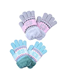 2Pairs Cute Knit Winter Gloves With Cozy Sherpa Lined For Kids Girl Blue Grey