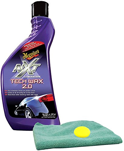 Meguiar's NXT Generation Tech Wax 2.0 Liquid Wax (18 oz) Bundle With Microfiber Cloth & Foam Pad (3 Items)