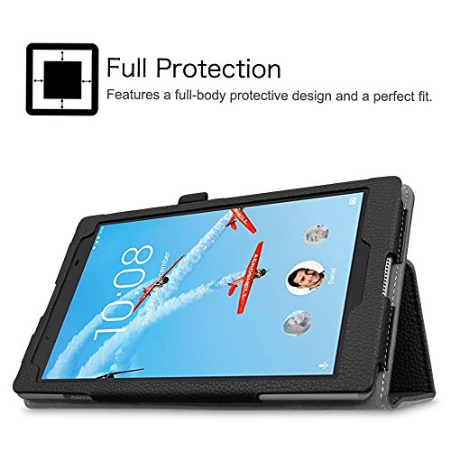 Fintie Lenovo Tab 4 8 Case - Premium PU Leather Folio Cover With Stylus Holder for Lenovo Tab4 8-Inch Android Tablet (2017 Release), Black by Fintie (Image #3)