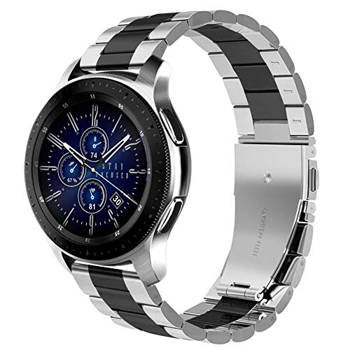 Dsytom Compatible for Samsung Galaxy Watch (46mm) Bands,Gear S3 Frontier/Classic Band 22mm(Width) Metal Stainless Steel Replacement Strap for Galaxy Watch(Black/Silver)