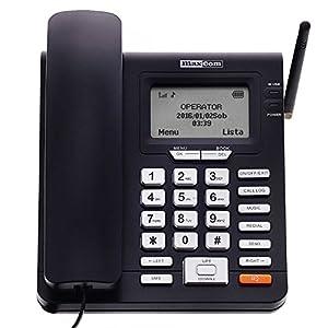 MAXCOM – Téléphone fixe GSM de bureau à carte SIM fonction SMS (Seniors,Bureau…) – MM28D – Noir