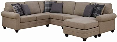 Scott Living Summerland Reversible Sectional with Rolled Armrests Wheat Herringbone