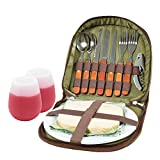 Bright Outdoors Picnic Set for 2 with Glasses - Fits Basket, Bag, Tote. With Board, Opener, Napkins
