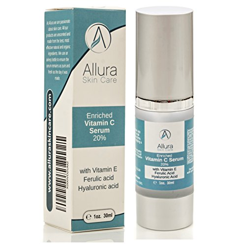 Allura Skin Care Vitamin C Serum :: Advanced Anti Aging Formula Enriched with Hyaluronic Acid & Vitamin E :: Airless Pump, Easy to Use :: Made in USA with Natural & Organic Ingredients, 1 Fl. Oz