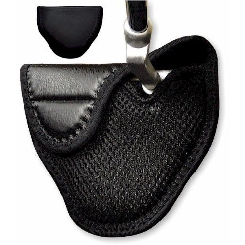 Genuine Leather Mallet Putter Cover for Heel Shafted Putters (Left Handed, Black) by JP Lann, Outdoor Stuffs