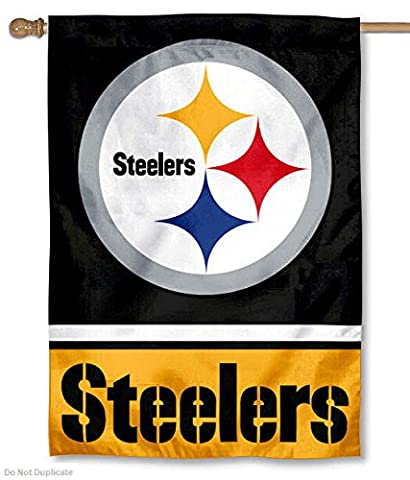 Pittsburgh Steelers Two Sided House Flag - Double Sided Pole