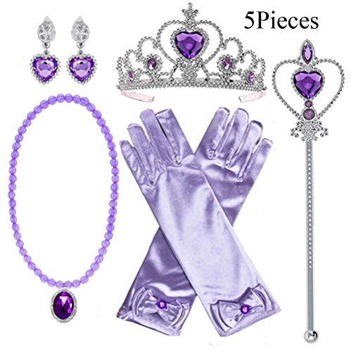 Yosbabe Princess Elsa Belle Sofia Dress up Accessories 5 Gifts Set for Girls Gloves Tiara Crown Necklace Wand -