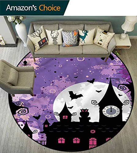 RUGSMAT Vintage Halloween Round Rugs for Bedroom,Towers and Bats Non-Slip Bathroom Soft Floor Mat Home Decor Round-59]()