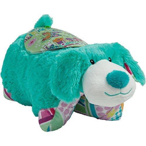 51NrsatiJmL - Pillow Pets Sleeptime Lites Colorful Teal Puppy Stuffed Animal Plush Night Light