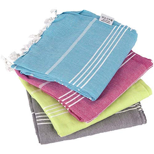 (Clotho Classic Turkish Peshtemal Bath Towels 100% Cotton 39 X 70 Lightweight Stylish Bath Beach Spa and Fitness Towel (Pack of 4, Variety))