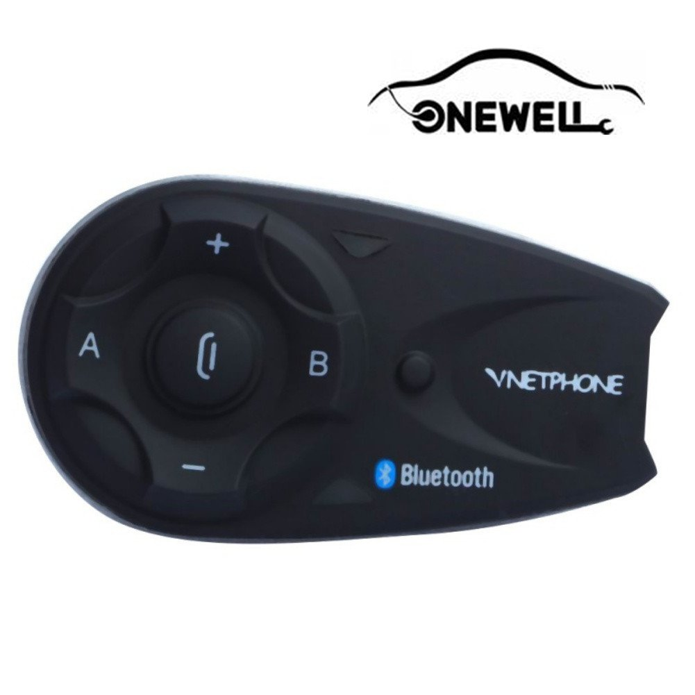Onewell Wireless Motorcycle Helmet Bluetooth 3.0 with Handle Remote Control 1.2km/0.75mi Intercom Headset Connect up to 5 Riders