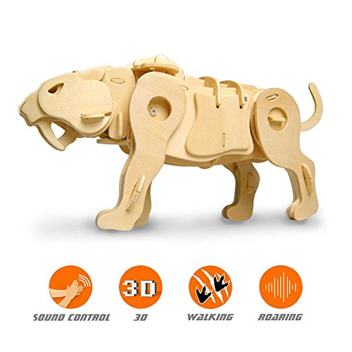 Sound Control Walking Saber-toothed Tiger DIY Family Fun Educational 3D Wooden Assembly Puzzle Model Toy 75 pieces
