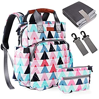 Diaper Bag Backpack, Tebio Multi-Function Large Capacity Waterproof Travel Backpack Nappy Bags with Changing Pad, Gifts for Dad, Mom, Baby Boys, Girls-Colorful