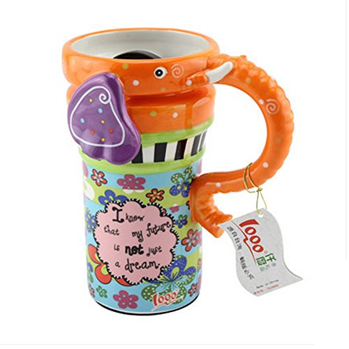 Painted Creative Mug Ceramic Elephant Cup Lid With Spoon, Large Capacity Cup, Z