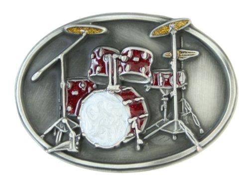 (Pewter Belt Buckle - Drum Set - Pewter Belt Buckle)
