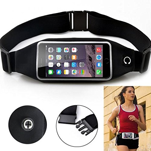 Black Sport Workout Belt Waist Bag Case Gym Pouch Reflective Cover Transparent Touch Screen for Verizon Samsung Galaxy Nexus LTE - Verizon Samsung Stealth V SCH-i510 - Virgin Mobile Alcatel Dawn