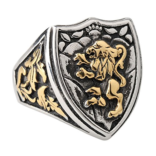 Silver Cool Gothic Lion Sheild Stainless Steel Mens Womens King Crown (Gothic Shield)