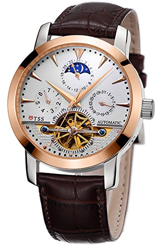 TSS Men's Automatic Skeleton Moonphase Watch Leather Band T8030PM1