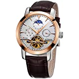 TSS Men's T8030PM1 Automatic Skeleton Moonphase Watch with Leather Band