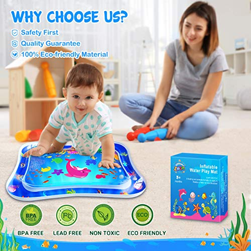 RMJOY Baby Tummy-Time Water Mat – Infant Water Play Mat Sensory Water Playmat Pad for 3 6 9 Months Newborn Toddler Boys…