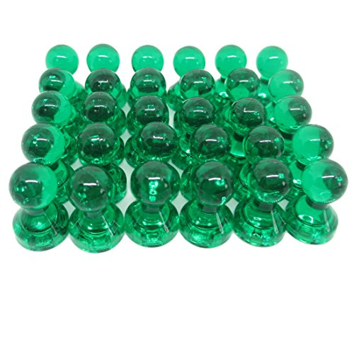 Anfukon 30 Pcs Green Magnetic Push Pins,Perfect as Whiteboard Magnets,Refrigerator Magnets,Maps Magnets and Calendar Magnets use in Office and Kitchen
