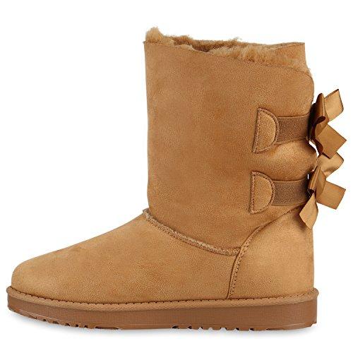 Schleifen Strass Kunstfell Schlupfstiefel Damen Warm Optik gefütterte Leder Schuhe Boots Profilsohle Hellbraun Stiefel Glitzer Stiefel Flandell ZzqRzg