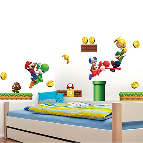 Super Mario Brothers Removable Wall Decals Stickers Kids Room Decoration Build a Scene Peel -